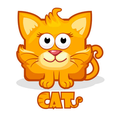 kitty cat: stylized cute cartoon square cat in vector