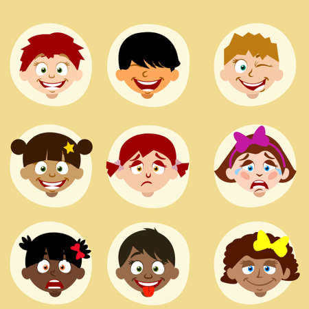 round style: emotions and nationality avatars children in vector