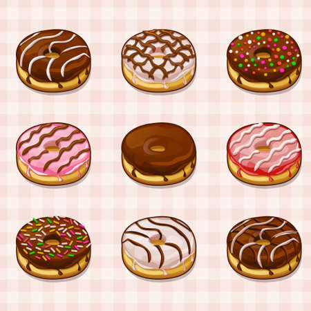 fillings: donuts with different fillings and frostings set