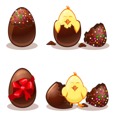 yellow art: Easter chocolate eggs and chik in vector