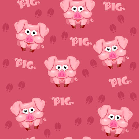 Seamless pattern square cartoon  pig in vector 스톡 콘텐츠