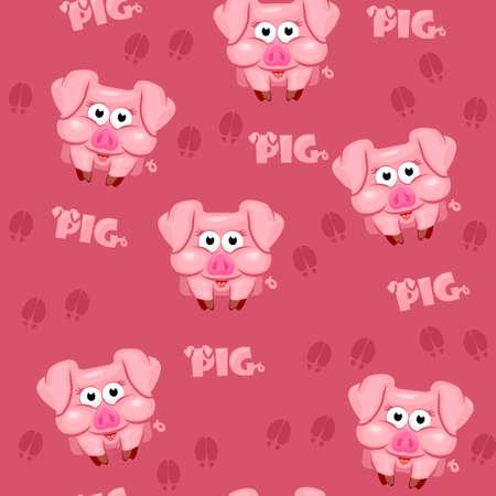 Seamless pattern square cartoon  pig in vector 免版税图像
