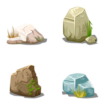 eroded: Set of cartoon vector stones illustration outdoor, environment plant Stock Photo