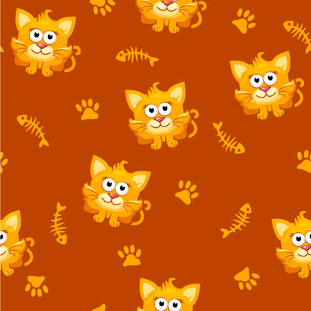 cheerful cartoon: Seamless pattern square cat and fish in vector