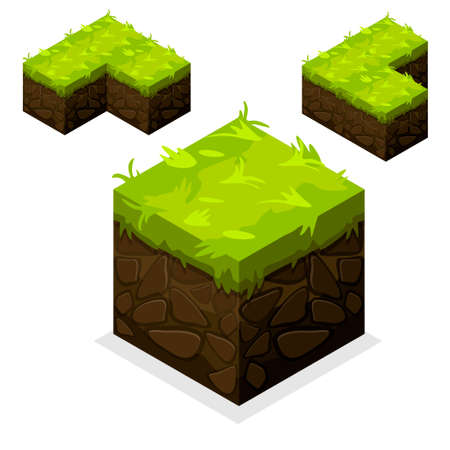 front or back yard: 3D Isometric Landscape Cube-Ground Grass Element. Icon Can be used for Game, Web, Mobile App, Infographics. Game asset.
