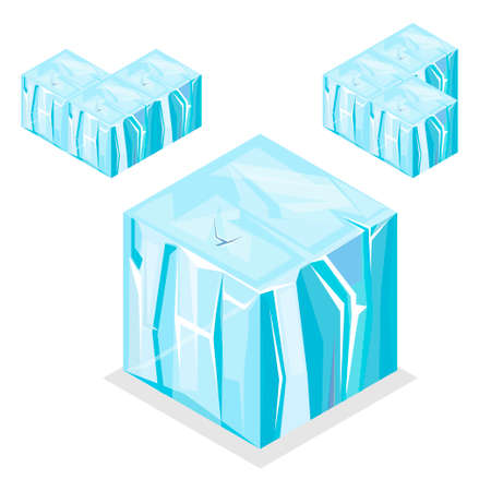 unending: 3D Isometric Landscape Cube - nature unending iceberg glacier Element. Icon Can be used for Game, Web, Mobile App, Infographics. Game asset. Illustration