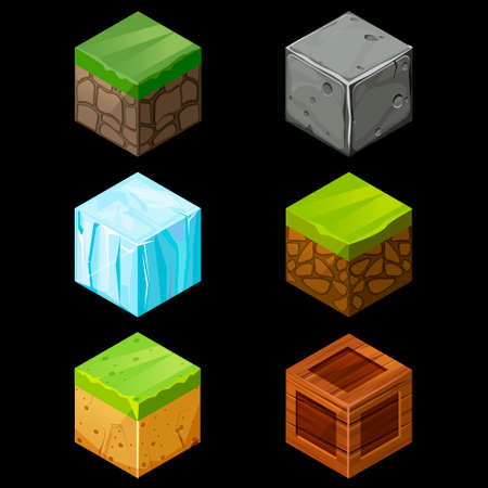 ice brick: 3D Game block Isometric Set , Cube for game, element texture, nature brick for computer game illustration