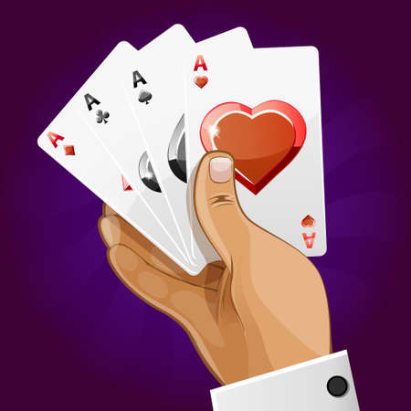 hand holding playing card: poker playing card in hand, vector