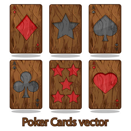 bleached: Wooden poker playing card in vector illustration