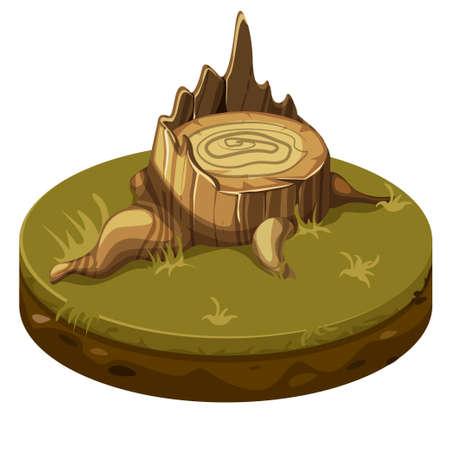 sawed: Tree stump at ground platform in vector