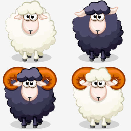 cartoon black and white sheep in vectors Vector Illustration