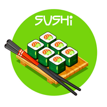 egg roll: Mini set of Wooden tray with Sushi vector - Japanese food