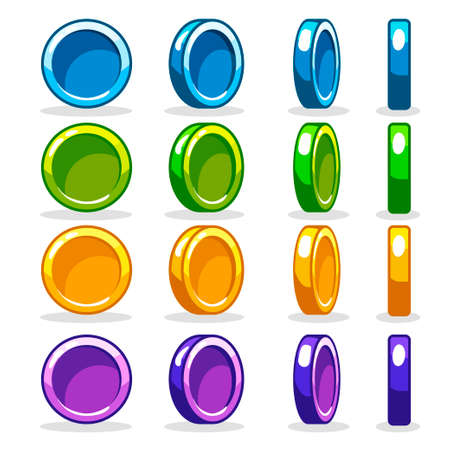 tossing: Cartoon colorful Coin set, vector game turn-based Rotation animation2