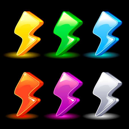 xp: Cartoon colorful energy, lightning icon for the game, vector