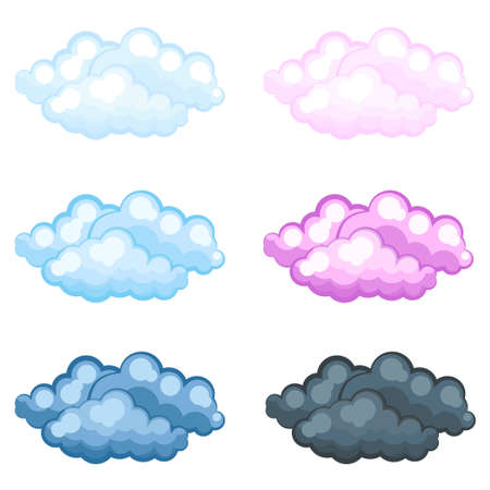 fluffy clouds: set of different funny cartoon fluffy clouds, Vector illustration.