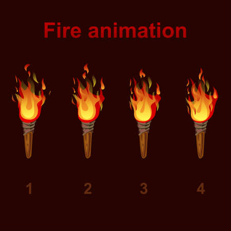 storyboard: Torch fire animation sprites, flame video frames for game design Illustration