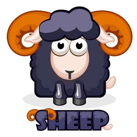 black sheep: cute cartoon square black Sheep. Vector illustration.