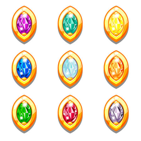 topaz: Vector colorful golden amulets with diamonds, oval shape