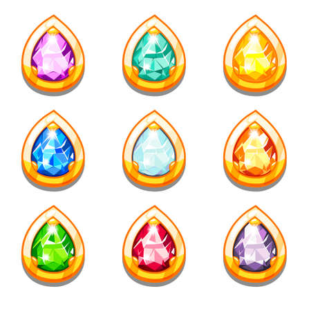 pear shaped: Vector colorful golden amulets with diamondsVector colorful golden amulets with diamonds, droplets form