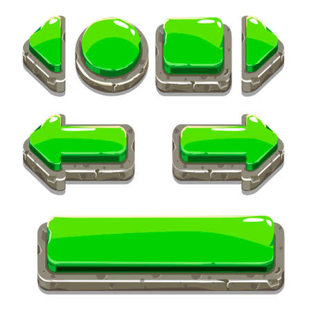 green button: Vector Cartoon green stone buttons for game or web design, gui elements set, gui elements set