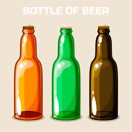 frothy: Bottle of beer. Vector Icon. Set of food and drink