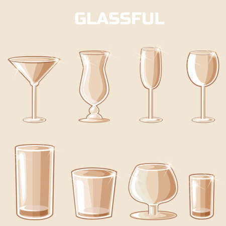 highball: shaped wineglass, game element vector. Set of food and drink