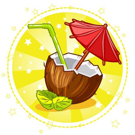 aperitif: Exotic coconut cocktail. Set Vector Stock Illustration