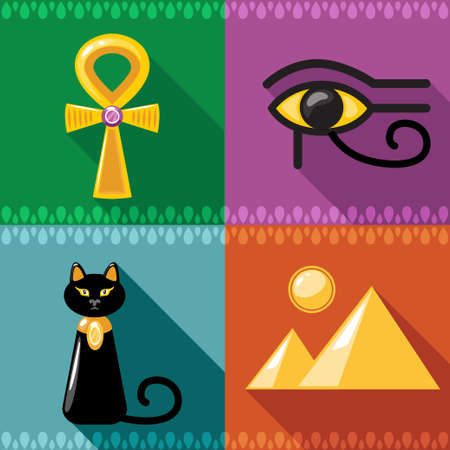 nile: flat Egypt simbols Icons set