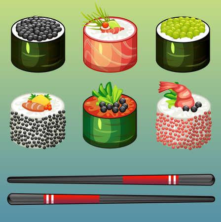 egg roll: sushi rolls set icons