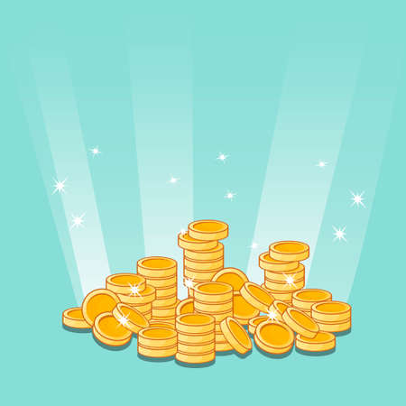 purchasing power: Cartoon Golden coins icon. Illustration