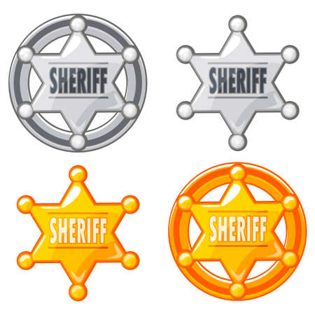 silver medal: Sheriff Marshal Star Gold and silver Medal Icon