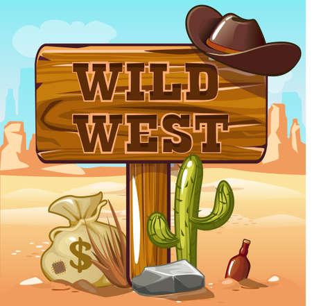 juego de ordenador de fondo del oeste salvaje. objetos de vaquero Ilustración de vector