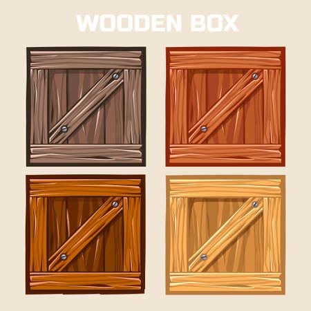 Caja de madera, elemento de juego Ilustración de vector