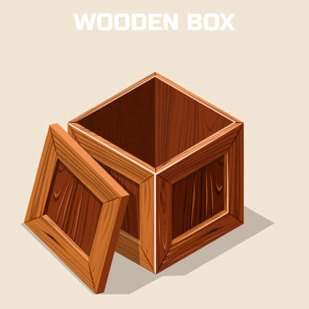 chest wall: Open wooden box isometric, game element Illustration