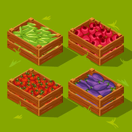 beets: Wooden box with vegetables. Cucumbers, tomatoes , eggplants and beets