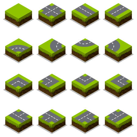 forked road: Assembled Isometric Road Intersection in element Illustration