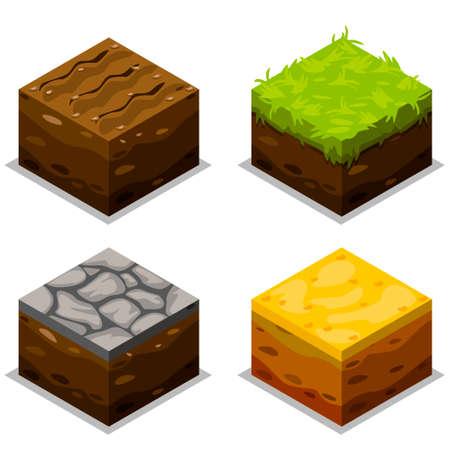 Léments isométriques pour la conception de paysage, élément de jeu Banque d'images - 57125934