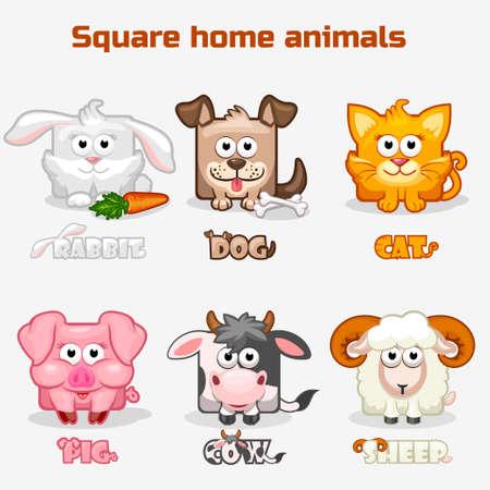 Simpatico cartone animato piazza Animali domestici Archivio Fotografico - 57478948