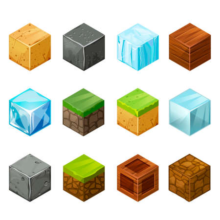 ice brick: 3D Game block Isometric Cubes Big Set elements nature Illustration