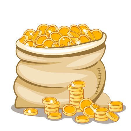 moneybag: cartoon Moneybag full of gold coins in vector