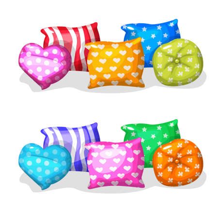 pillows: pillows in different colors and shapes Illustration