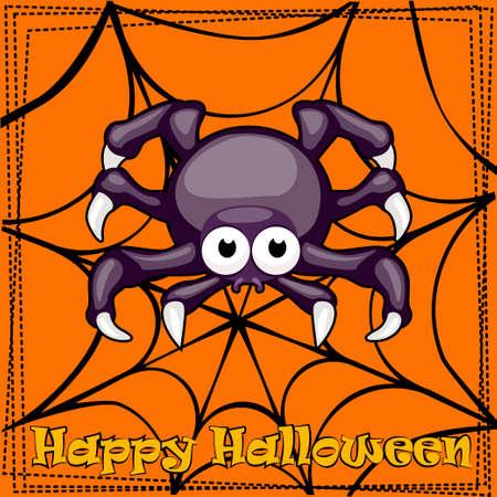 spun: Card Happy Halloween, cartoon Spider and spiderweb Illustration
