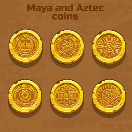 symbol yellow: old gold aztec and Maya coins, resource gaming element