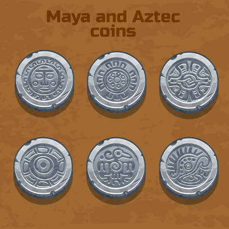 ancient civilization: old silver aztec and Maya coins, resource gaming element