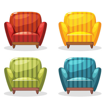 Armchair Soft Colorful Homemade, Set 1 In Vector Vector