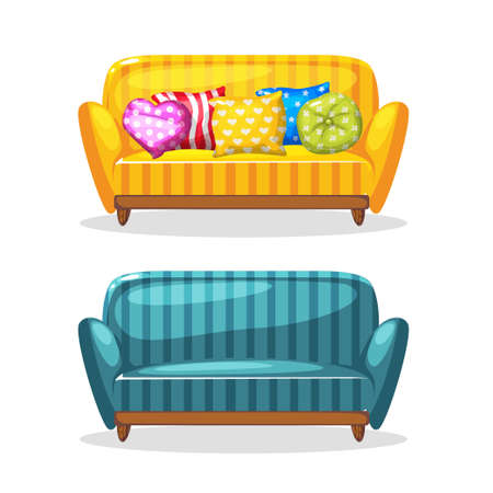 luxury homes: sofa soft colorful homemade, set 1 in vector