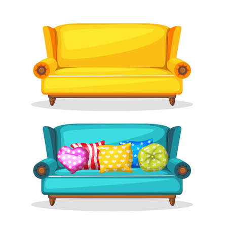 furniture part: sofa soft colorful homemade, set 3 in vector