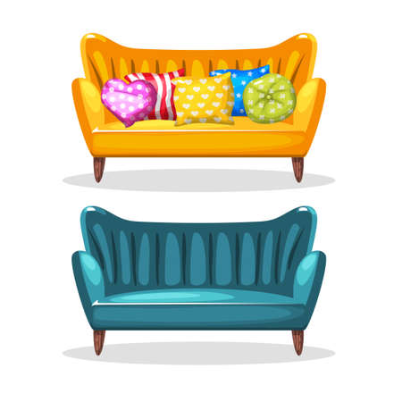 sofa soft colorful homemade, set 5 in vector Illustration