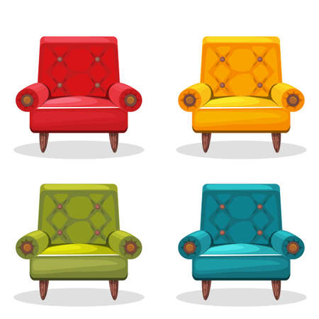 armchair: armchair soft colorful homemade, set 4 in vector Illustration