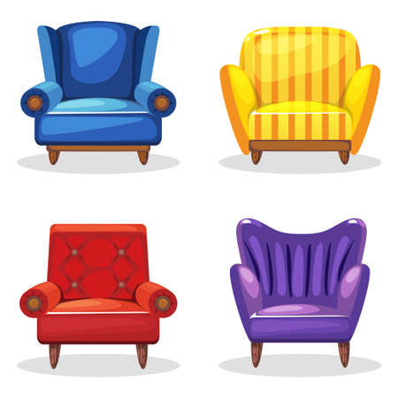 Armchair Soft Colorful Homemade, Set 5 In Vector Vector
